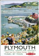 Plymouth Harbour, Devon. Vintage BR(WR) Travel poster by Harry Riley. c1958